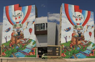 Muralmarket Креативная реклама на фасаде для Люкс Фм в ТРЦ Sky Mall 133