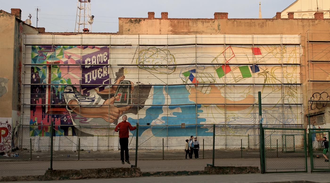 Muralmarket Креативная рекламная роспись на фасаде для Pepsi 4