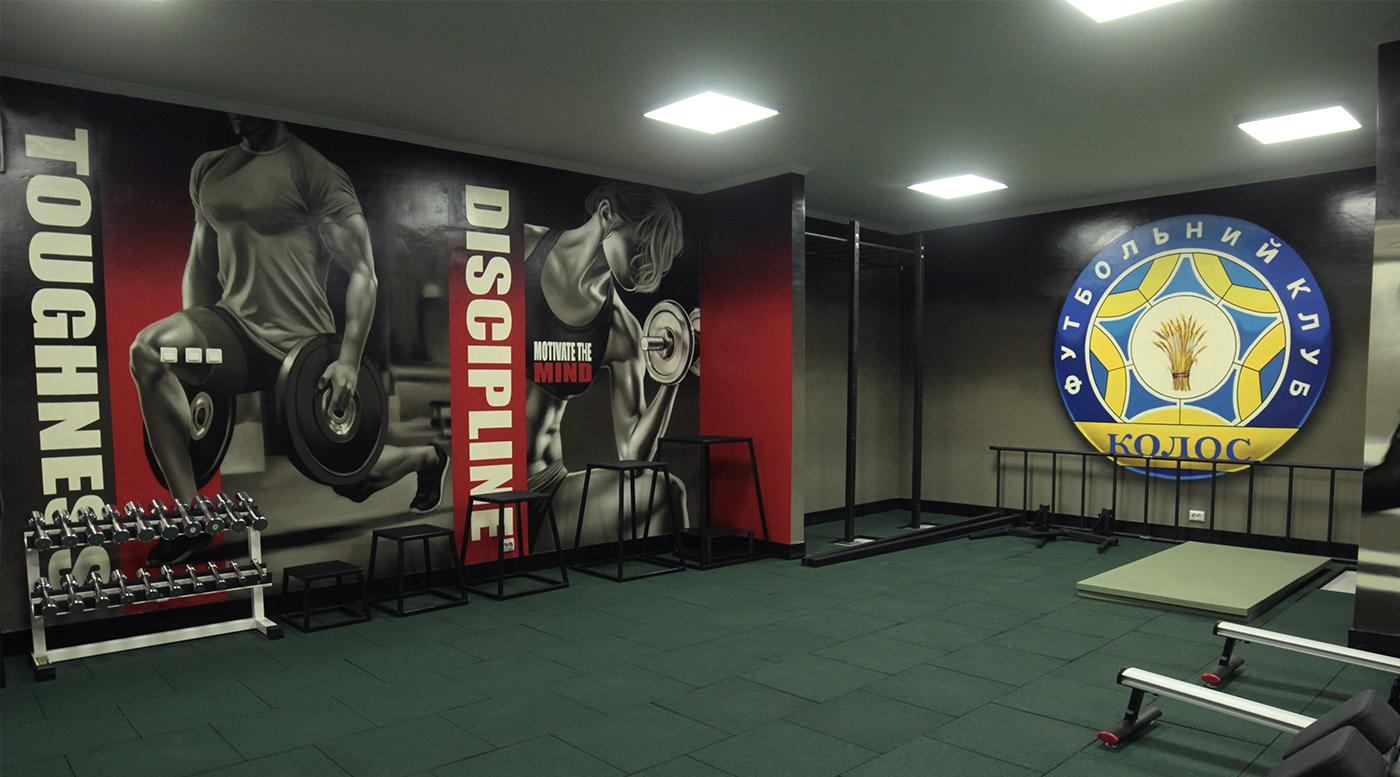 Muralmarket Роспись стен в интерьере спорт клуба Колос 6