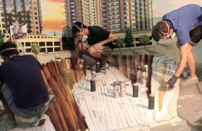 Muralmarket Создание 3D оптической иллюзии в ЖК Парк Авеню 1