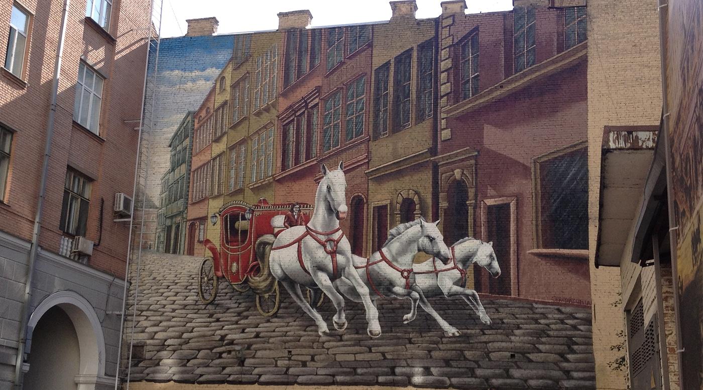 Muralmarket Мурал на фасад для ресторана Каретный Двор г.Киев ул. Прорезная 15 3