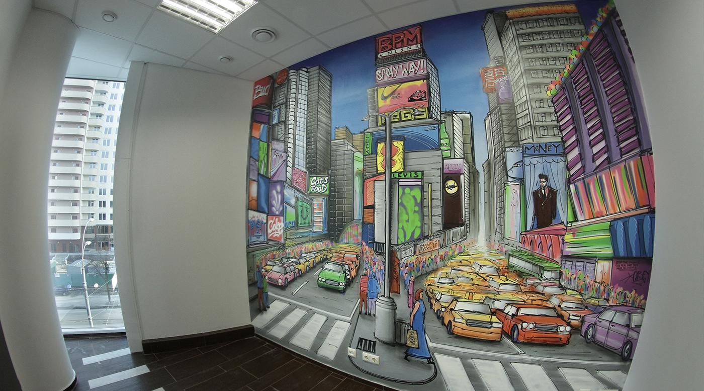 Muralmarket Роспись стен в офисе Terrasoft