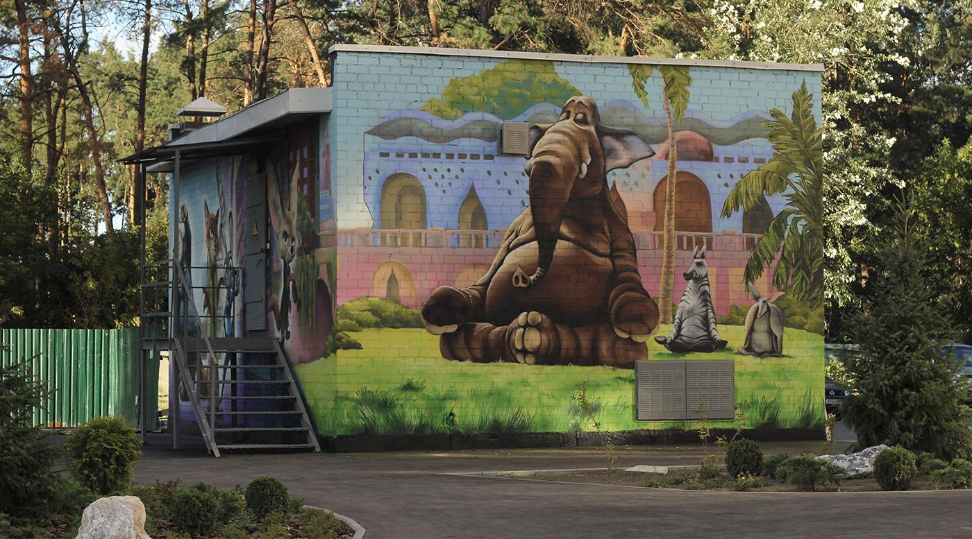 Muralmarket Роспись трансформаторной подстанции ЖК Парковые Озера