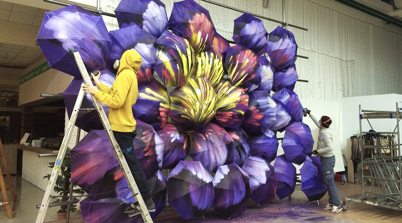 Muralmarket Создание арт объекта на 8 марта в ЦТ Дарынок 1