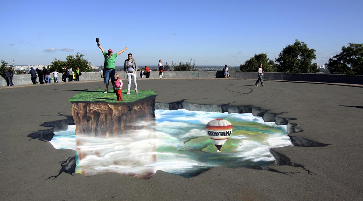 Muralmarket Создание 3D рисунка для Borjomi Арка Дружбы народов г.Киев 4