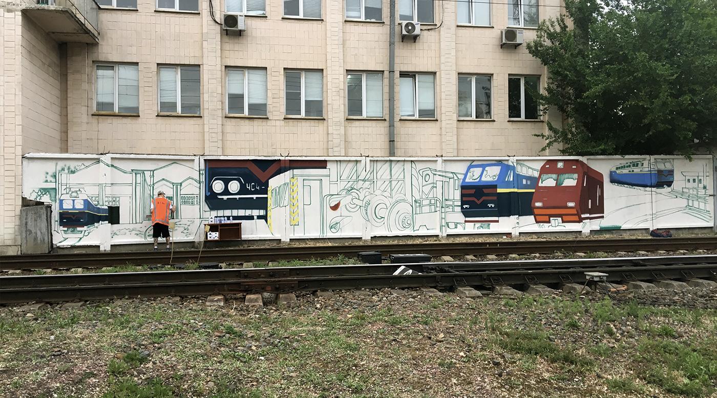 Muralmarket Роспись забора для УЗ, Укрзалізниці 2